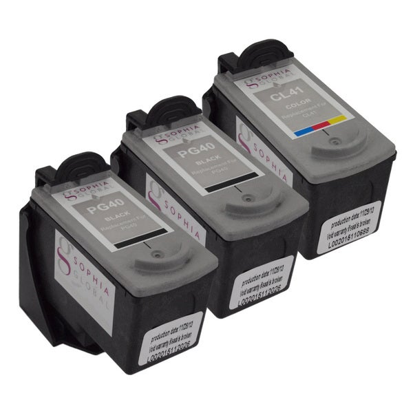Sophia Global Remanufactured Ink Cartridge Replacements for Canon PG-40 and CL-41 with Ink Level Display (Pack of 3)