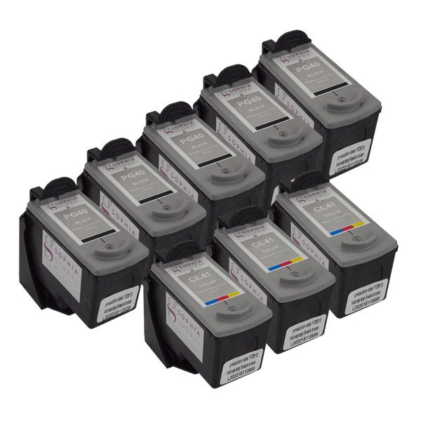 Sophia Global Remanufactured Ink Cartridge Replacements for Canon PG-40 and CL-41 with Ink Level Display (Pack of 8)