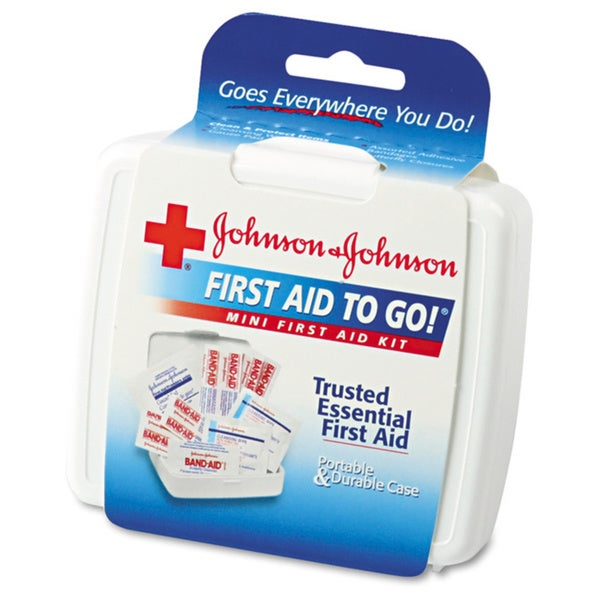 Johnson & Johnson Red Cross Mini First Aid To Go Kit, 12 Pieces, Plastic Case