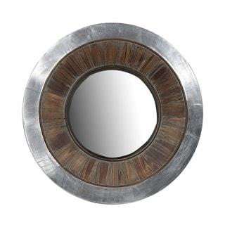 Privilege Aluminum/ Wood Round Mirror