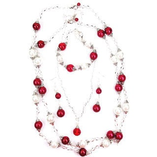 30-inch Double Strand Red and White Faux Pearl Jewelry Set