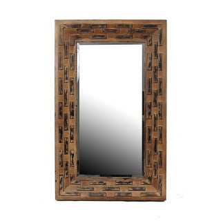 Privilege Brown Two-tone Reclaimed Wood Wall Mirror