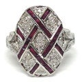 Neda Behnam Diamonds for a Cure 14k White Gold 1/5ct TDW Diamond and Ruby Oval Shaped Vintage Ins