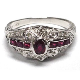 Neda Behnam Diamonds for a Cure 14k White Gold 1/10ct TDW Diamond and Ruby Vintage Inspired Ring