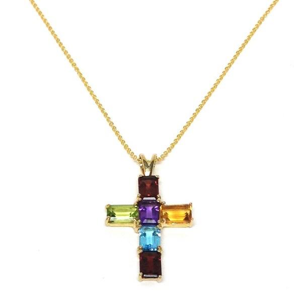 Neda Behnam Soho Boutique 14k Yellow Gold Multi-gemstone Cross Pendant Necklace