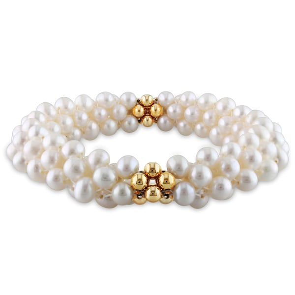 M by Miadora Goldtone Cultured Freshwater Pearl Elastic Bracelet (5-5.5 mm)