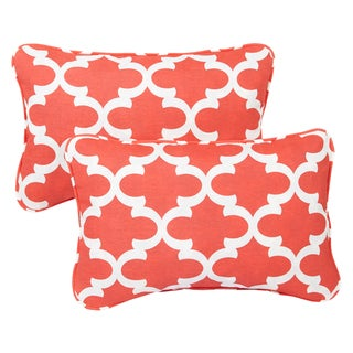 Scalloped Coral Corded 13 x 20 inch Indoor/ Outdoor Throw Pillows (Set of 2)