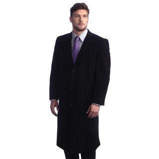 Men's 'Howard' Black Peak Lapel Overcoat