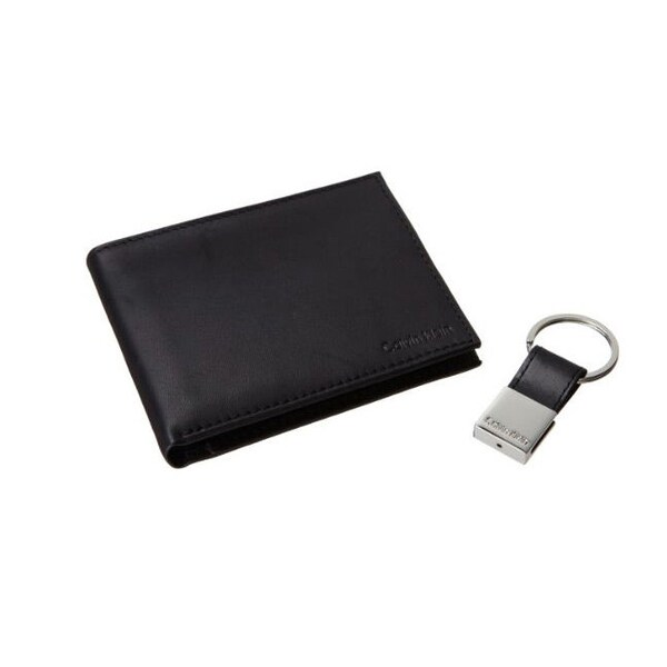 Calvin Klein Men's Black Leather Bookfold Wallet