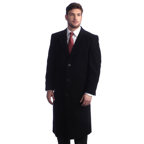 Men's 'Howard' Navy Peak Lapel Overcoat