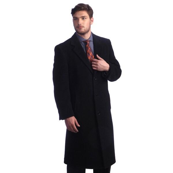 Men's 'Howard' Charcoal Peak Lapel Overcoat
