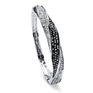 PalmBeach Silvertone Black and White Crystal Bangle Bracelet Bold Fashion