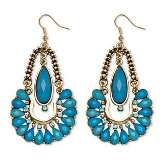 PalmBeach Aqua Crystal Chandelier Earrings in Yellow Gold Tone Bold Fashion
