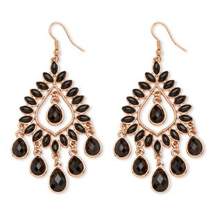 PalmBeach Rose Gold-plated Black Crystal and Lucite Chandelier Earrings Bold Fashion