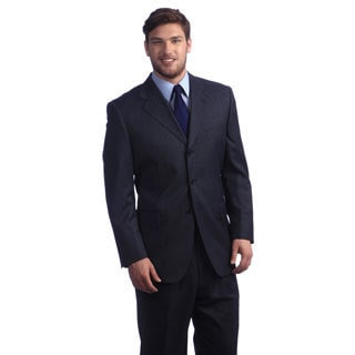Carlo Palazzi Men's Blue Merino Wool Pin Dot Suit
