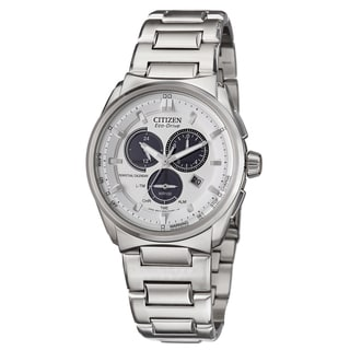 Citizen Men's 'Perpetual Calendar' Stainless Steel Alarm Chronograph Military Time Watch