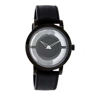 Movado Men's 'Museum' Black Stainless Steel Swiss Quartz Watch