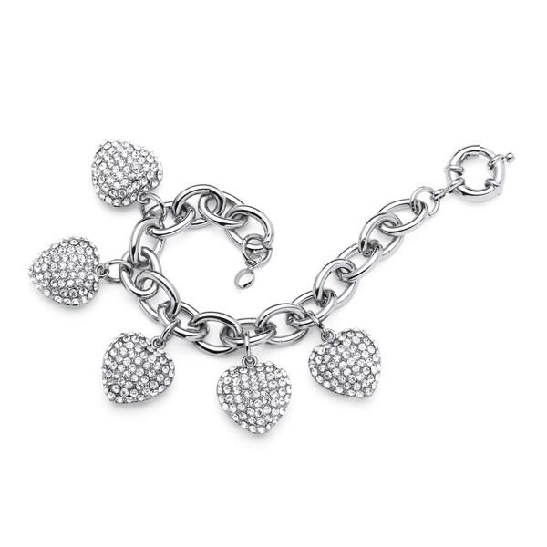 PalmBeach Bold Fashion Crystal Heart Charm Bracelet