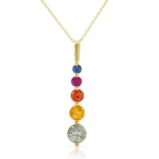 14k Yellow Gold Multi-sapphire Pendant Necklace