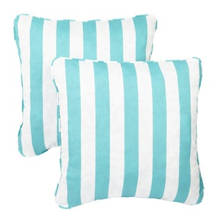 Aqua Stripe Corded Indoor/ Outdoor Square Pillows (Set of 2)