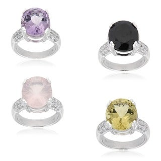 Sterling Silver Multi-gemstone and White Topaz Fashion Ring