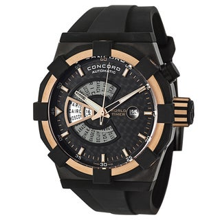 Concord Men's 'C1 Worldtimer' 18k Rose Gold-Tone Black Stainless Steel Watch