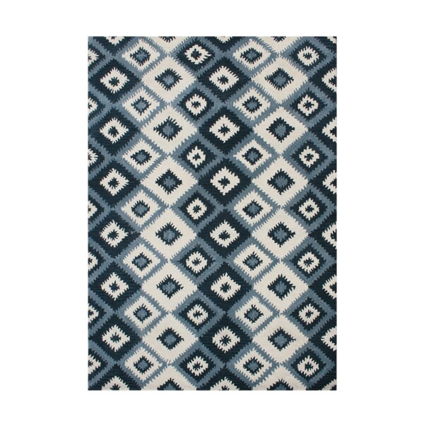 Alliyah Rugs Handmade Ikat Orion Blue New Zealand Blend Wool Rug (9' x 12')