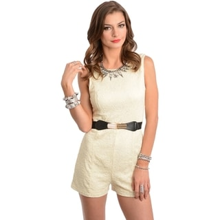 Stanzino Women's Sleeveless Belted Cream Romper