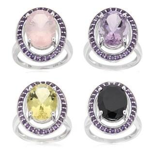 Sterling Silver Rhodium Plated Multi-gemstone and Amethyst Fashion Ring