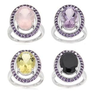 Sterling Silver Rhodium Plated Multi-gemstone and Amethyst Fashion Ring
