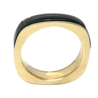 De Buman 10k Yellow Gold 1/8ct TDW Genuine Black Agate Men's Ring (H-I, I1-I2)