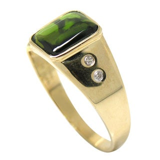 De Buman 10k Yellow Gold Genuine Chrome Diopside and Diamond Accent Men's Ring