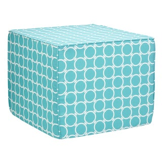 Brooklyn Linked Aqua 22-inch Square Indoor/ Outdoor Ottoman