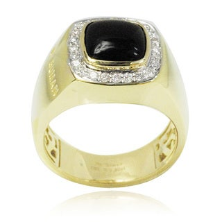 De Buman 10k Yellow Gold Genuine Black Agate and Diamond Accent Men's Ring