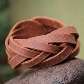 Leather 'Brown Andean Braid' Bracelet (Peru)