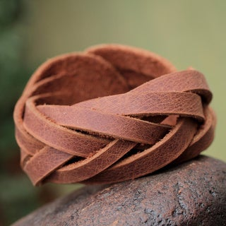 Leather 'Brown Andean Braid' Bracelet (Peru)