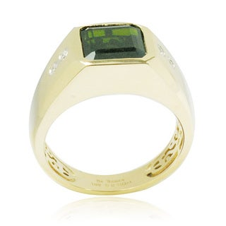 De Buman 10k Yellow Gold 1/10ct TDW Diamond Genuine Chrome Diopside Men's Ring (H-I, I1-I2)
