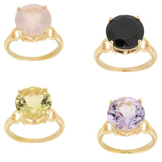Sterling Silver 14k Yellow Gold Plated Multi-gemstone Solitaire Fashion Ring