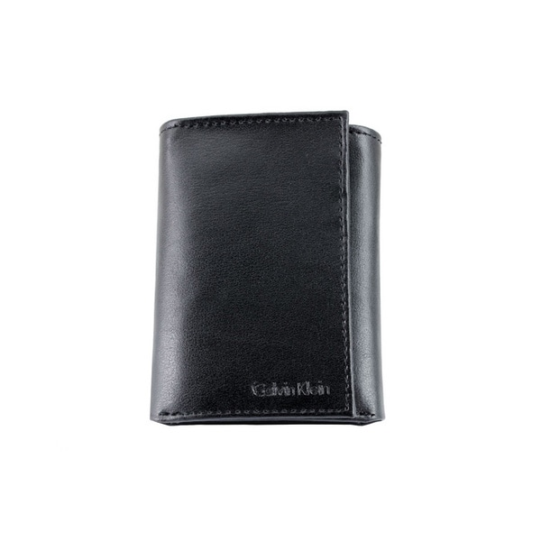 Calvin Klein Men's Black Leather Trifold Wallet