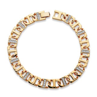PalmBeach Gold Overlay 1 1/10ct TCW Men's Cubic Zirconia Bracelet