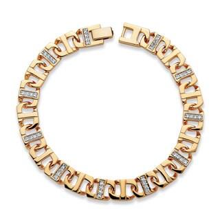 "PalmBeach Men's 1.10 TCW Cubic Zirconia 10 mm Mariner-Link Bracelet 14k Gold-Plated 10"""