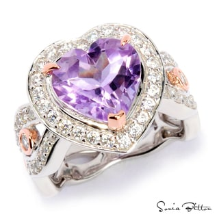 Platinum and Rose Gold Plated Sterling Silver Amethyst Heart Ring