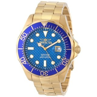 Invicta Men's Blue Gold-Tone Stainless Steel Pro Diver Watch