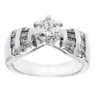 Simon Frank Silvertone 'Contessa' CZ Engagement/Wedding Ring