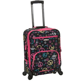 Rockland Deluxe Peace Sign 20-inch Expandable Carry-On Spinner Upright Luggage