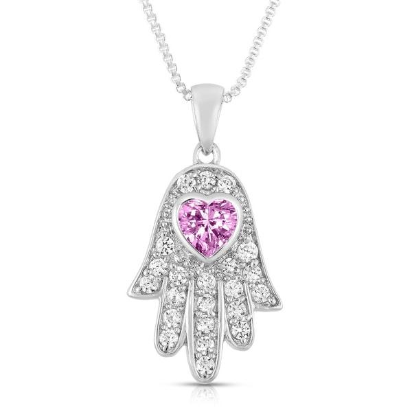 Sterling Silver Cubic Zirconia Hamsa/Heart Pendant Necklace