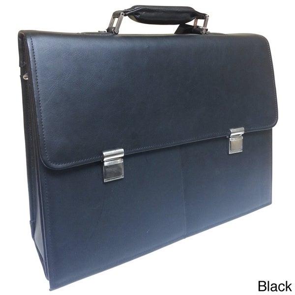 Jourdan Flap Over Leather Briefcase