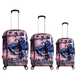 Neocover Traveling Butterfly 3-piece Hardside Spinner Luggage Set