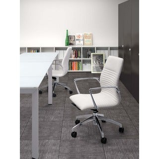 Lion White Leatherette Low-back Office Chair