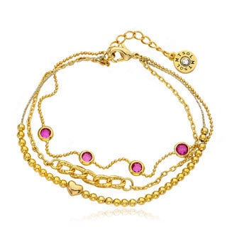 Little Miss Twin Stars Brass 14k Gold Plated Hot Pink Stones and Beads 3-strand Bracelet